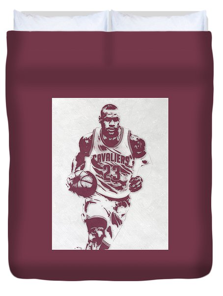 Lebron James Cleveland Cavaliers Pixel Art 4 Duvet Cover by Joe Hamilton