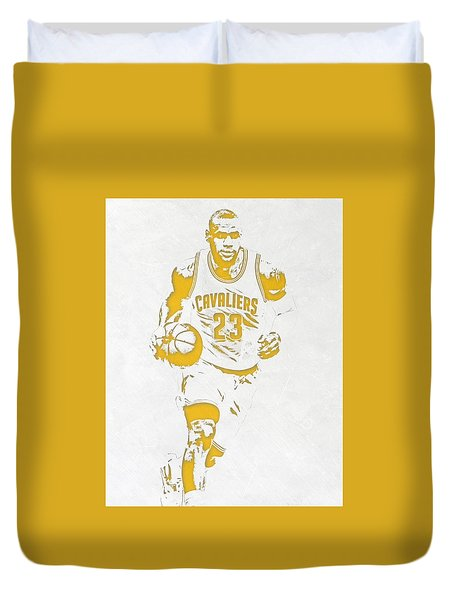 Lebron James Cleveland Cavaliers Pixel Art 5 Duvet Cover by Joe Hamilton