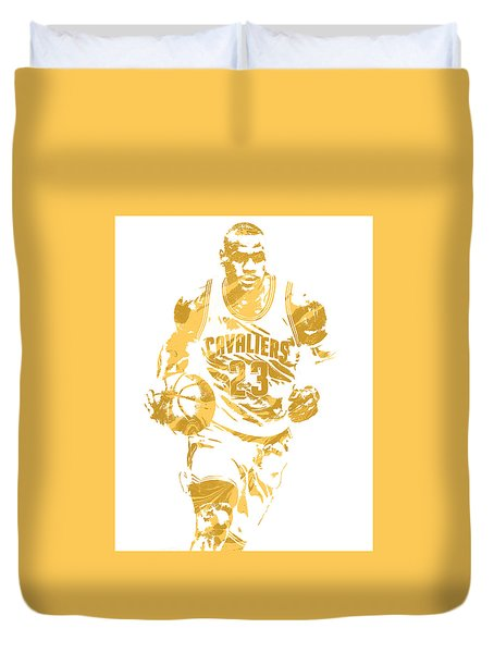 Lebron James Cleveland Cavaliers Pixel Art 7 Duvet Cover by Joe Hamilton