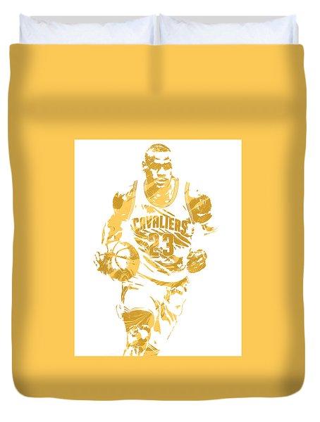 Lebron James Cleveland Cavaliers Pixel Art 7 Duvet Cover by Joe Hamilton