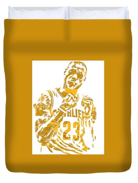 Lebron James Cleveland Cavaliers Pixel Art 9 Duvet Cover by Joe Hamilton