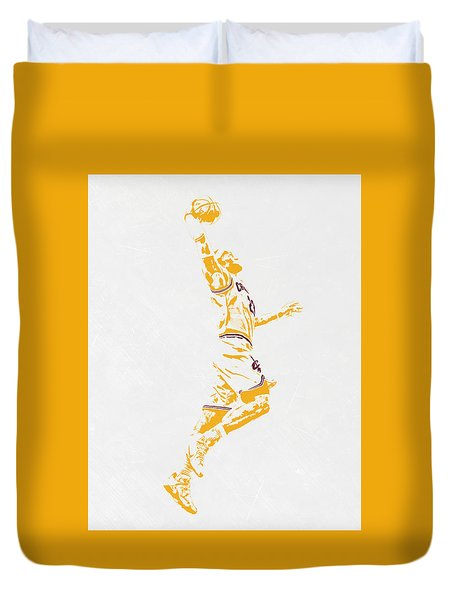 Lebron James Cleveland Cavaliers Pixel Art Duvet Cover by Joe Hamilton