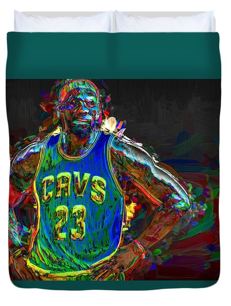 Lebron James Painted Duvet Cover by David Haskett