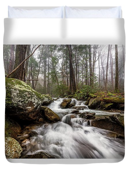 Duvet Cover featuring the photograph Leconte Creek by Everet Regal