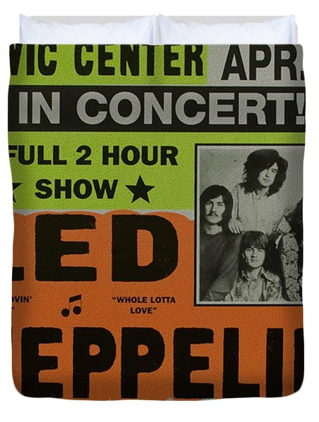 Led Zeppelin Live In Concert At The Baltimore Civic Center Poster Duvet Cover