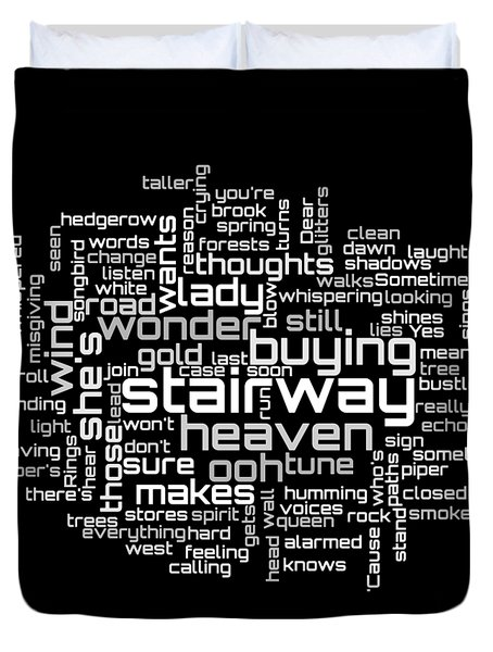 Duvet Cover featuring the digital art Led Zeppelin - Stairway To Heaven Lyrical Cloud by Susan Maxwell Schmidt