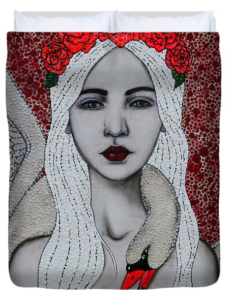 Duvet Cover featuring the mixed media Leda And The Swans by Natalie Briney