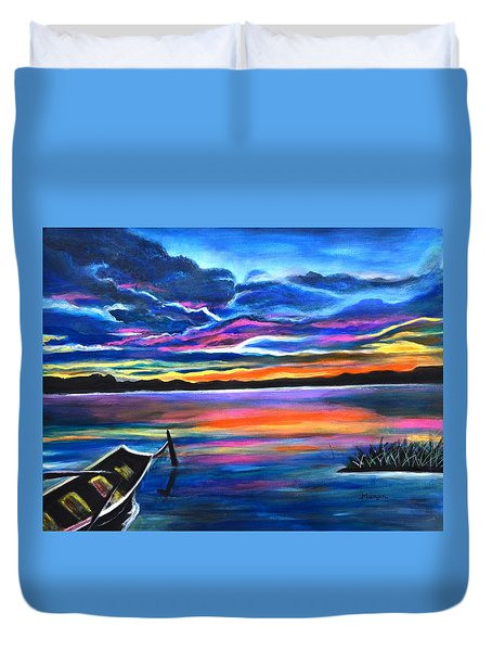 Left Alone A Seascape Boat Painting At Sunset  Duvet Cover