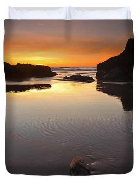 Left By The Tides Duvet Cover by Mike  Dawson