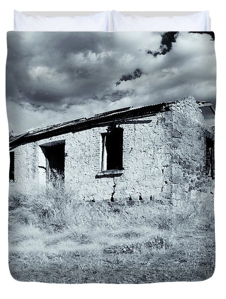 Left In Ruin Duvet Cover by Mike  Dawson