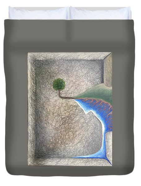 Duvet Cover featuring the mixed media Left Universe by Steve  Hester