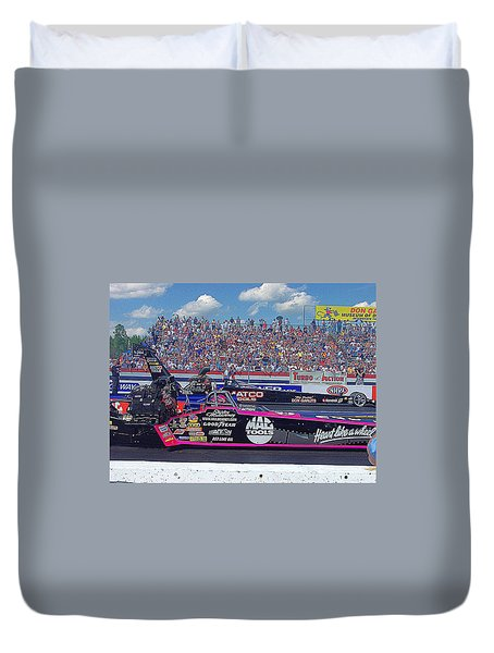 Duvet Cover featuring the photograph Legends At The Line by Jerry Battle