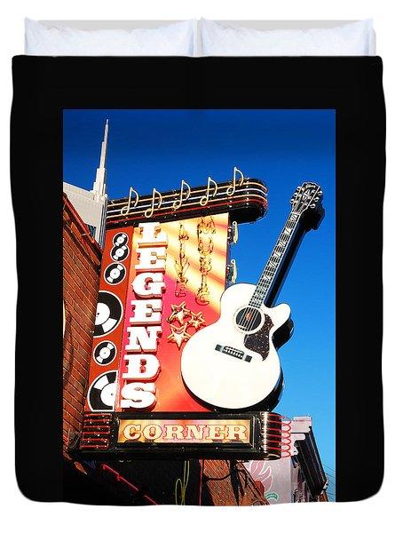 Duvet Cover featuring the photograph Legends Corner Nashville by James Kirkikis