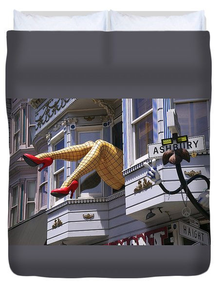 Legs In Window Sf Duvet Cover by Garry Gay