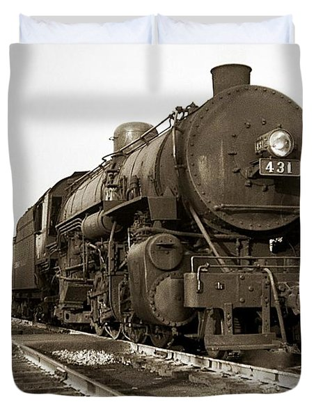 Lehigh Valley Steam Locomotive 431 At Wilkes Barre Pa. 1940s Duvet Cover