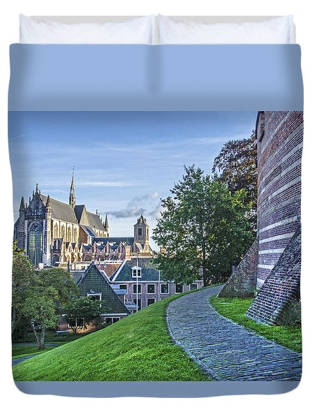 Leiden, The Church And The Castle Duvet Cover