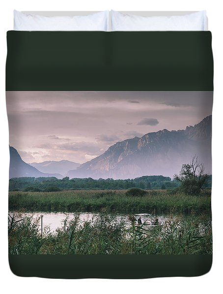 Leisure Boat On River Adda In Northern Italy, Close To Lake Como - Reflection Of Italian Alps Duvet Cover