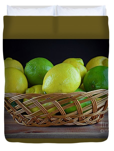 Lemon And Lime Basket Duvet Cover by Ray Shrewsberry
