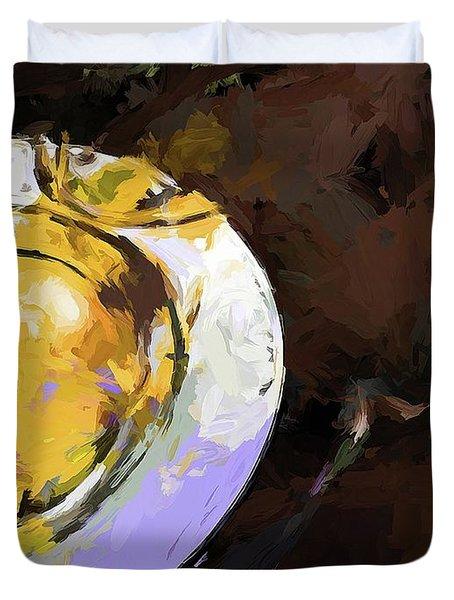 Lemon Bowl Fork Green Duvet Cover