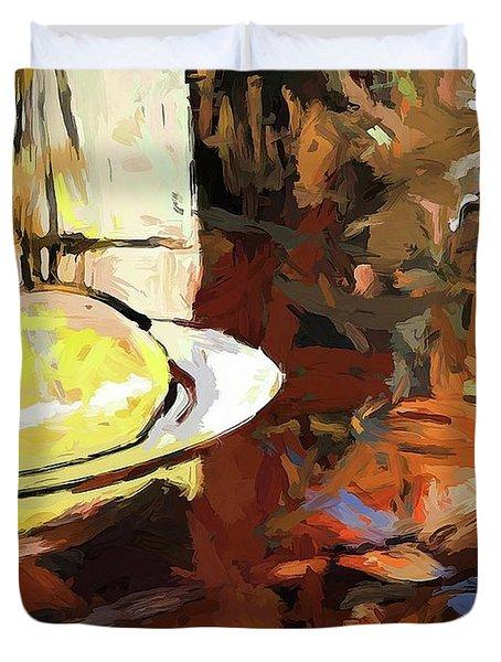 Lemon Bowl Wine Glass Fork Duvet Cover