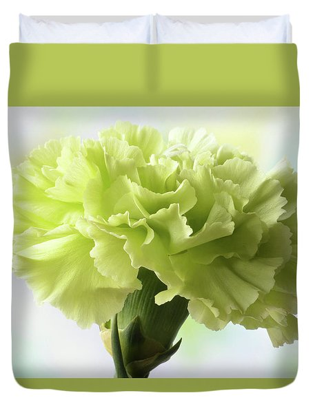 Duvet Cover featuring the photograph Lemon Carnation by Terence Davis
