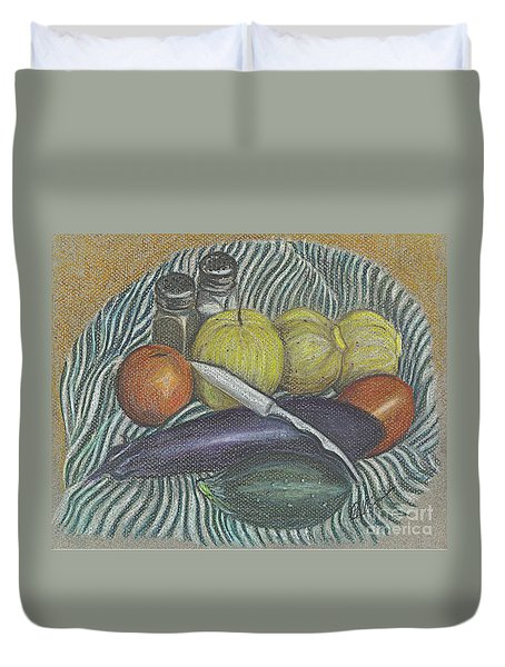 Duvet Cover featuring the drawing Lemon Cucumbers by Carol Wisniewski