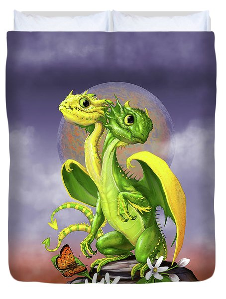 Duvet Cover featuring the digital art Lemon Lime Dragon by Stanley Morrison