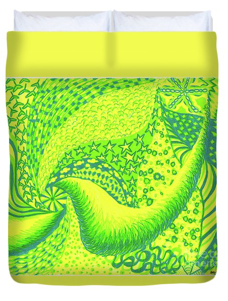 Duvet Cover featuring the drawing Lemon Lime by Kim Sy Ok