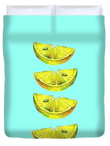 Lemon Slices Turquoise Duvet Cover
