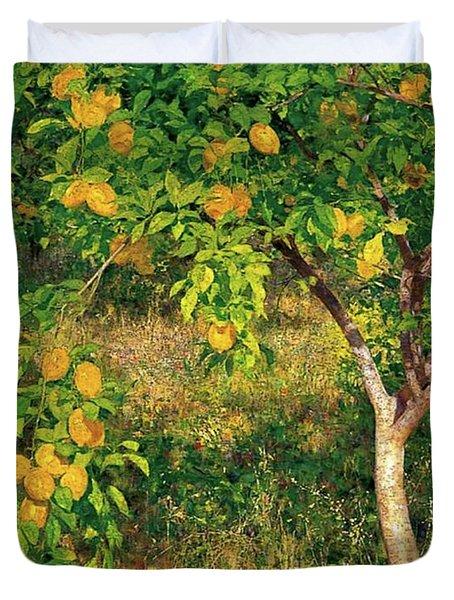 Duvet Cover featuring the painting Lemon Tree by Henry Scott Tuke