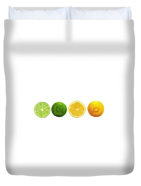 Lemons And Limes Duvet Cover by Kathleen Skinner