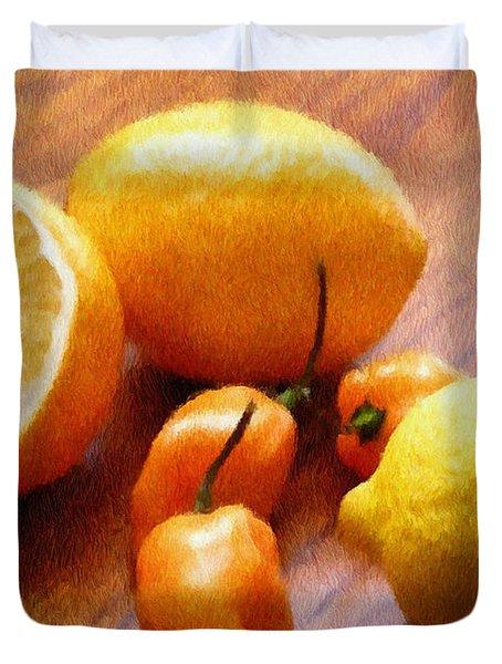 Lemons And Peppers Duvet Cover by Jeff Kolker