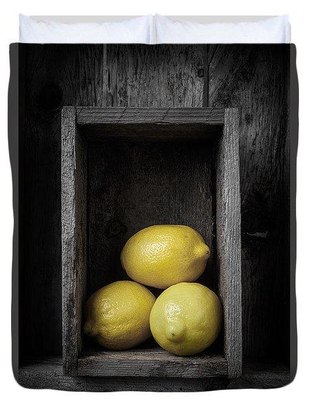 Lemons Still Life Duvet Cover by Edward Fielding