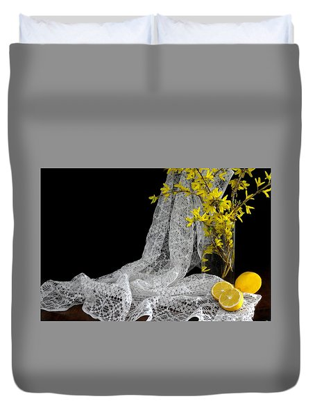 Lemons'n Lace Duvet Cover by Diana Angstadt