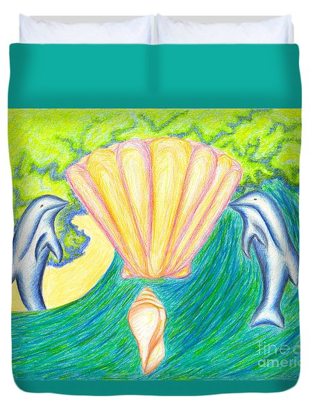 Duvet Cover featuring the drawing Lemuria Atlantis by Kim Sy Ok