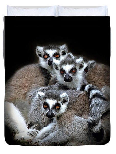 Lemurs Duvet Cover by Marion Johnson