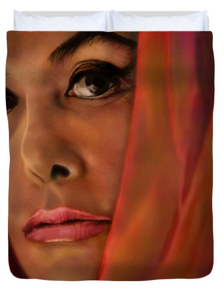 Lena Horne-glass Windows Duvet Cover by Reggie Duffie