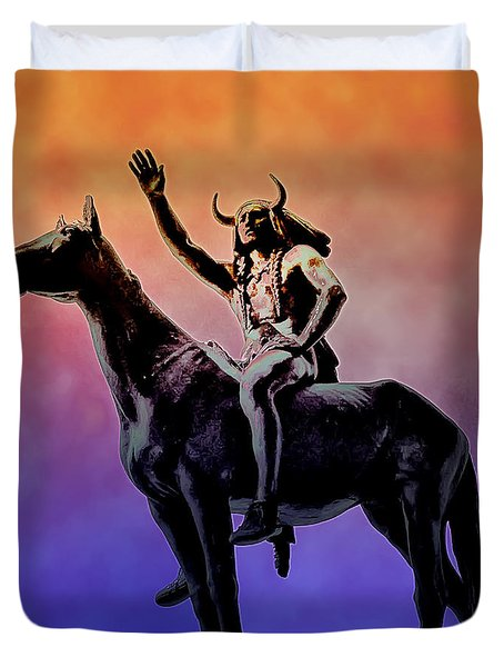 Lenape Indian Chief Duvet Cover by Bill Cannon