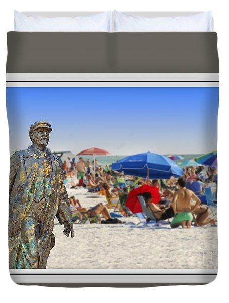 Lenin Goes To The Beach White Border Duvet Cover