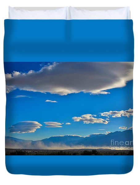 Duvet Cover featuring the photograph Lenticular Arrival by Angela J Wright