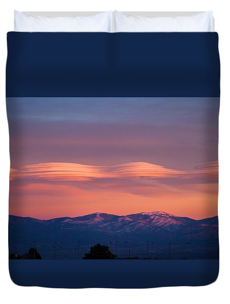 Lenticular Clouds Duvet Cover by Elena E Giorgi