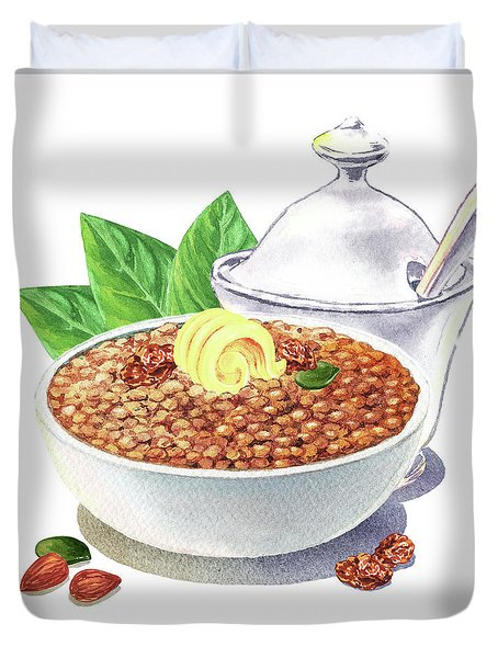 Duvet Cover featuring the painting Lentil Soup Watercolor Food Illustration by Irina Sztukowski