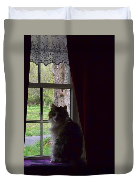Leo In The Window Duvet Cover