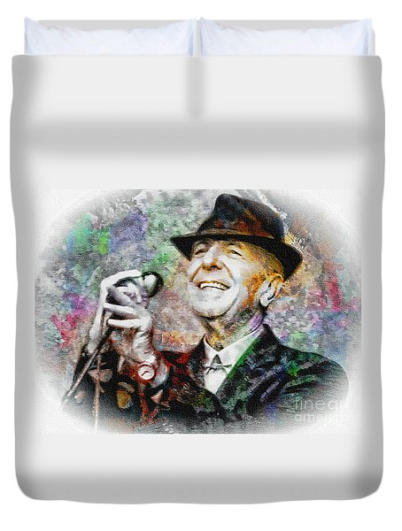 Leonard Cohen - Tribute Painting Duvet Cover