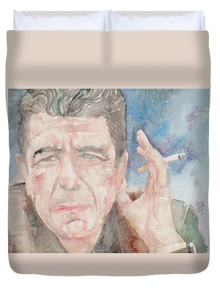 Leonard Cohen - Watercolor Portrait.1 Duvet Cover by Fabrizio Cassetta