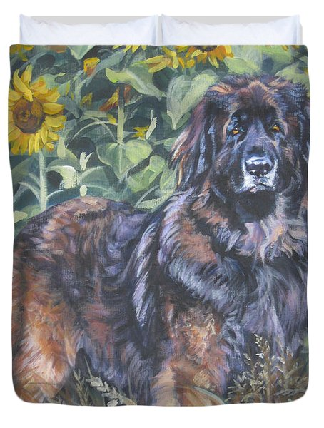 Leonberger In Sunflowers Duvet Cover by Lee Ann Shepard