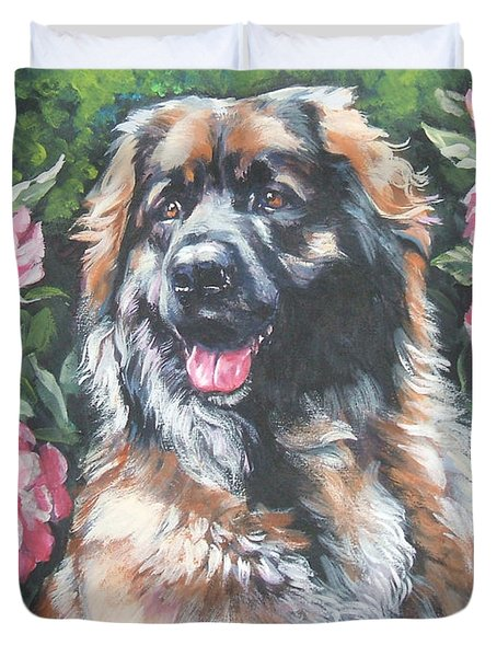 Leonberger In The Peonies Duvet Cover by Lee Ann Shepard