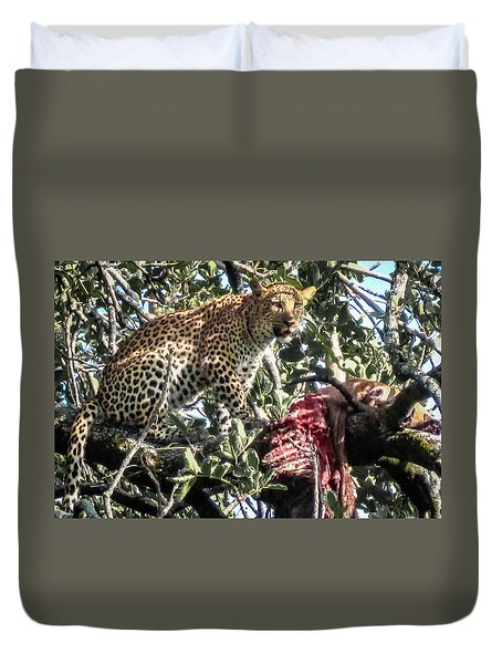 Duvet Cover featuring the photograph Leopard Eating Impala In A Tree by Gregory Daley  PPSA
