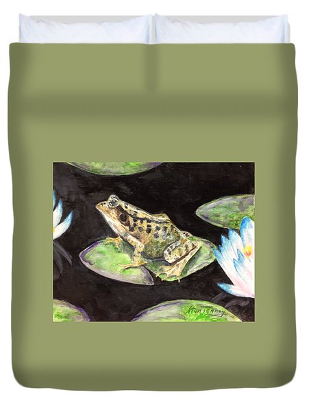 Duvet Cover featuring the painting Leopard Frog by Stan Tenney