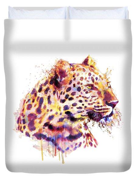 Leopard Head Duvet Cover by Marian Voicu